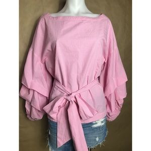 MAZ Jeans pink Tiered bell sleeves boat neckline